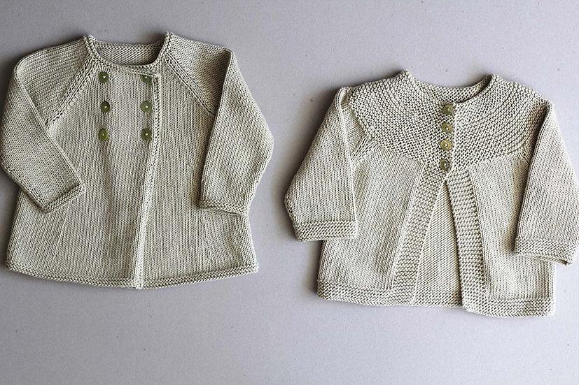 Double breasted coat/Garter stitch yoke Cardigan
