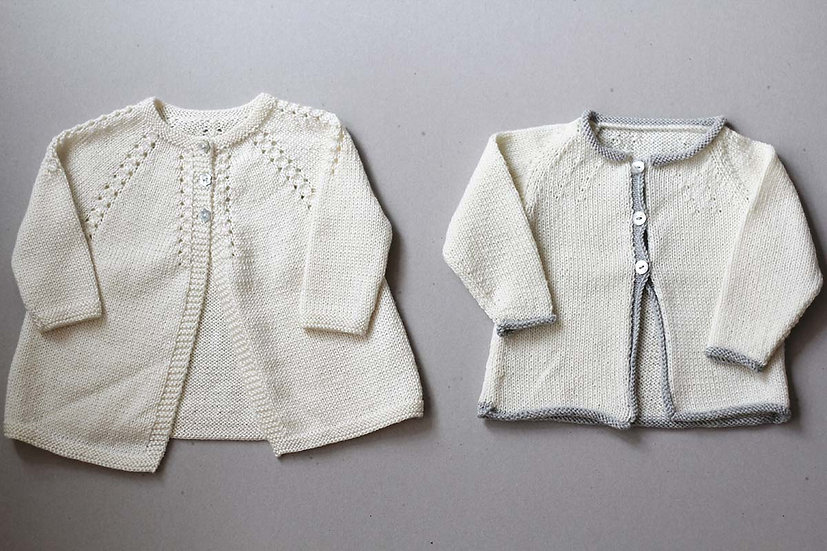 Cream Cardigan with mother of pearl buttons/Cream and grey trim cardigan
