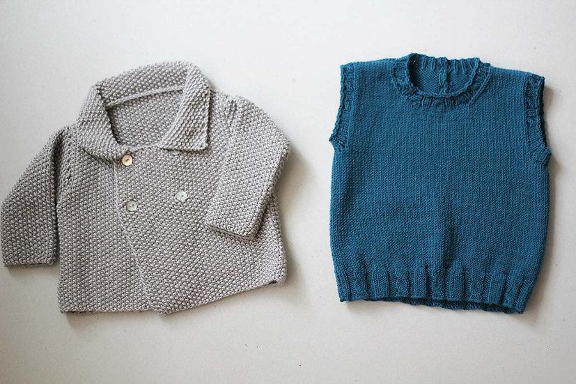 Grey hand knit moss stitch jacket/Teal Sleeveless Jumper