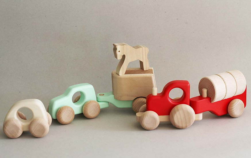 Car / Car with horse / Tractor with Blocks