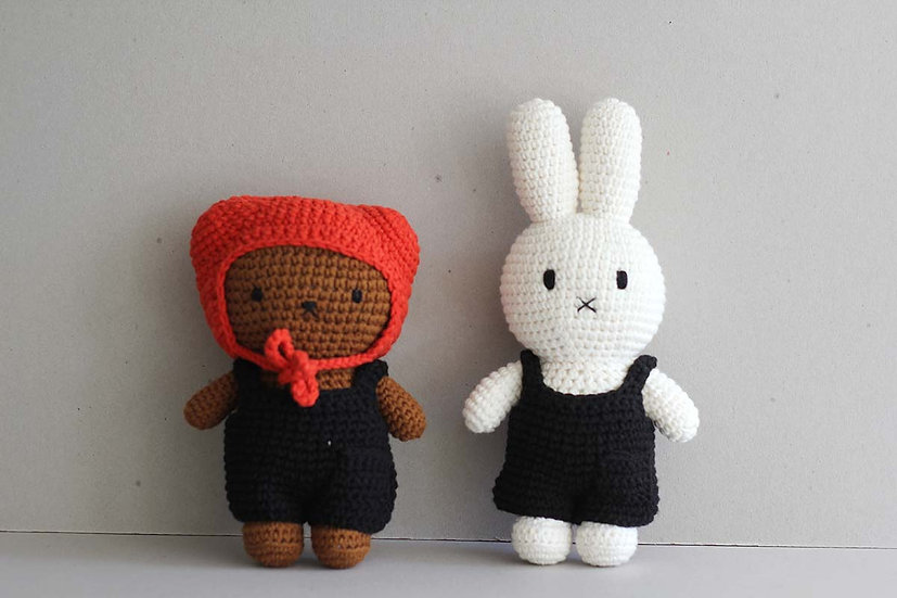 Boris and Miffy in Black Dungrees