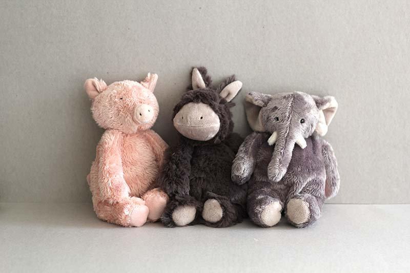 Soft sweet little Piggy, Donkey and Elephant