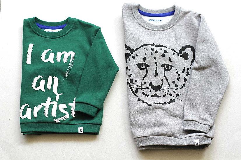 I am an Artist / Grey Cheetah Sweater