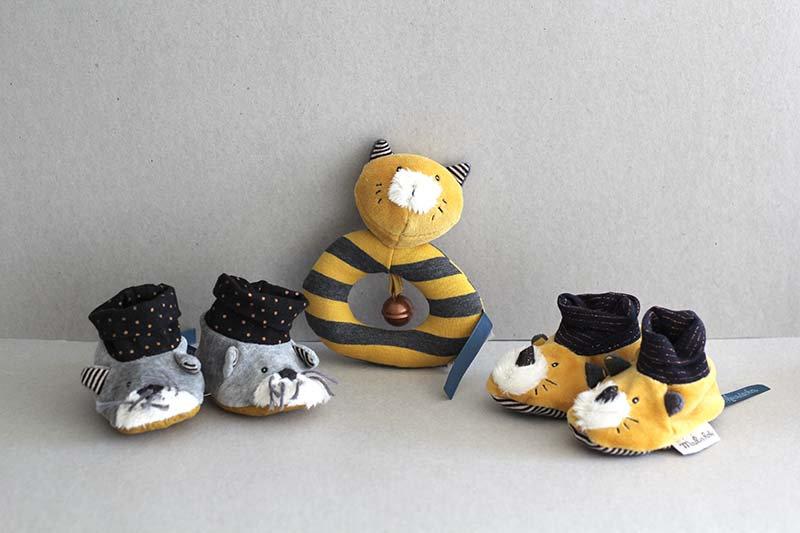 Baby Slippers Grey Cat / Mustard Cat / Yellow ring rattle Lulu the cat