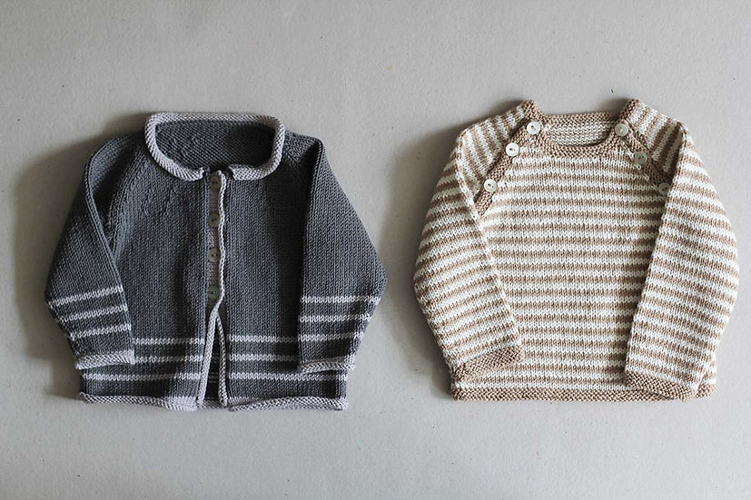 Charcoal and light Grey cardigan/Beige and Cream stripe Jumper