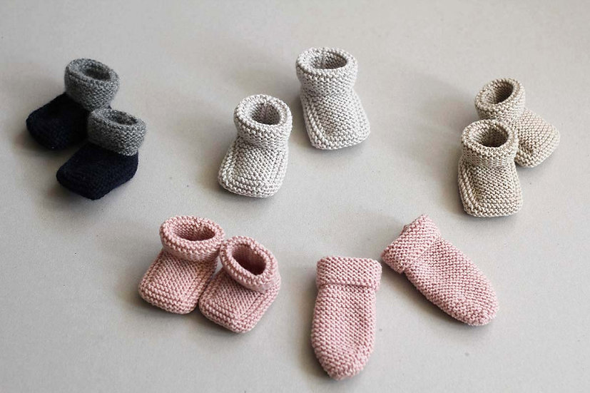 Hand knit Baby Booties & Mitts