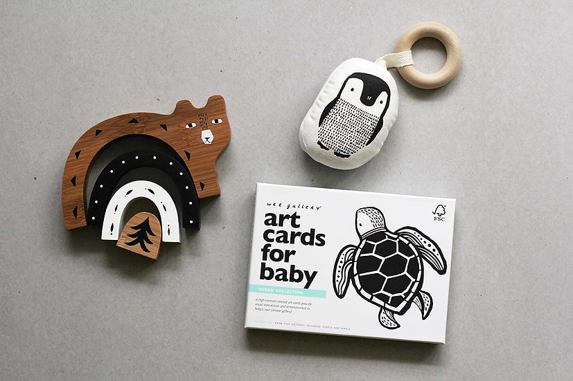 Ocean - Art Cards for baby / Bear Stacker Bamboo