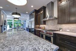 Modern kitchen with brown kitchen cabine