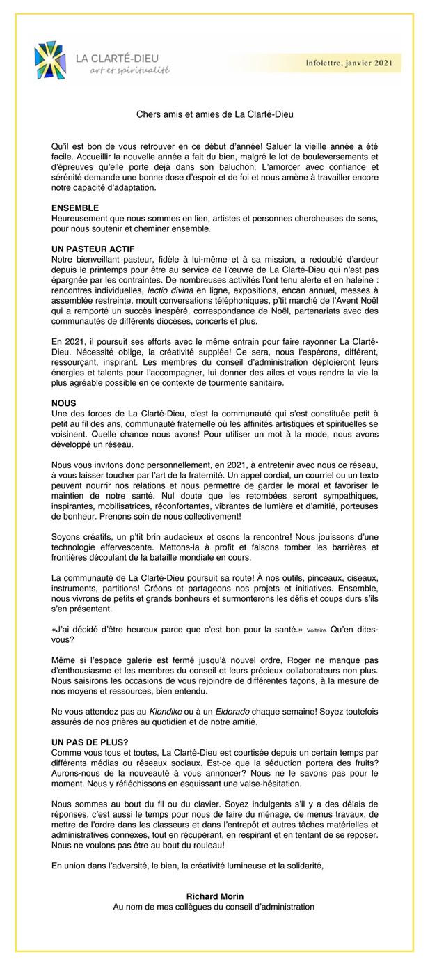 NOUVELLES DE LA CLARTÉ-DIEU