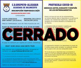 PLAZO DE INSCRIPCIÓN EN LA ESCUELA CERRADO, AÑOS 2009-2015