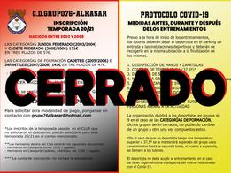 CERRADO PLAZO DE INSCRIPCIONES GRUPO76-ALKASAR (NACIDOS ENTRE 2005 Y 2008)