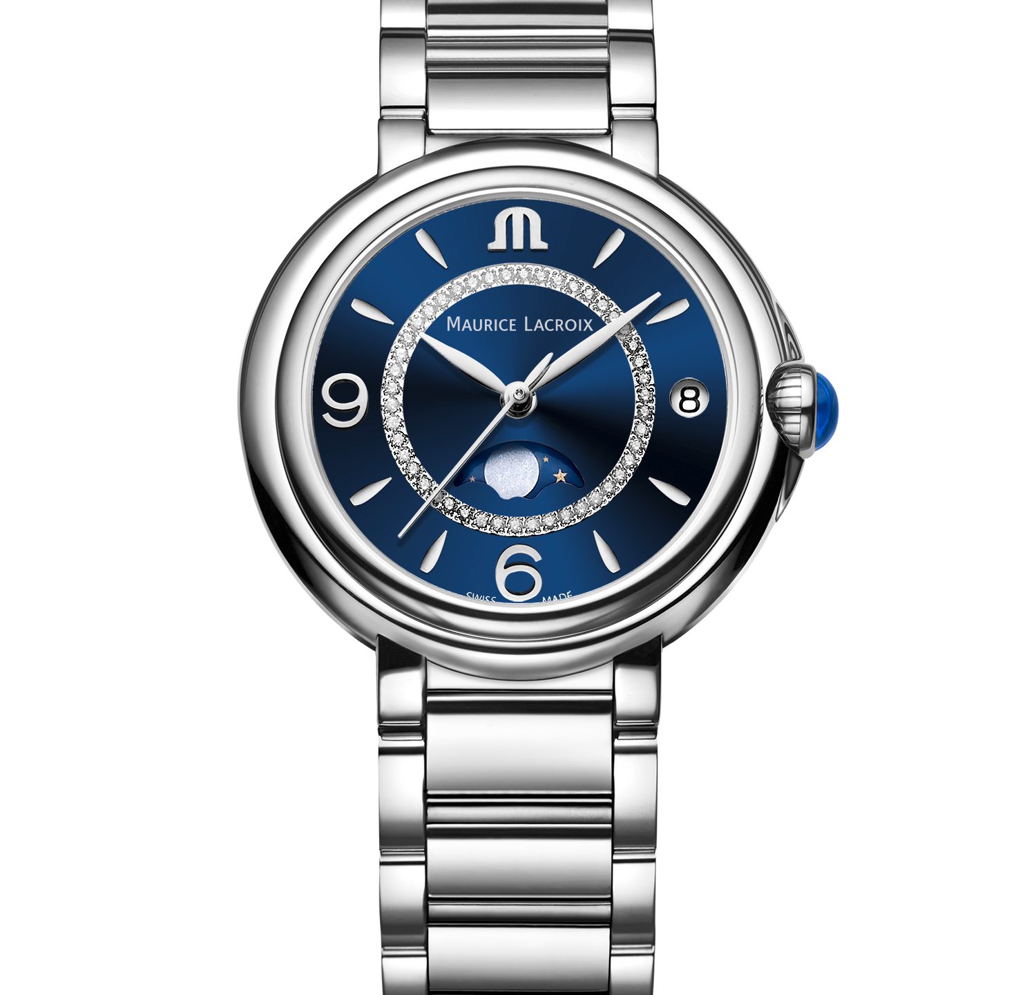 Fiaba Moonphase with blue sunray dial