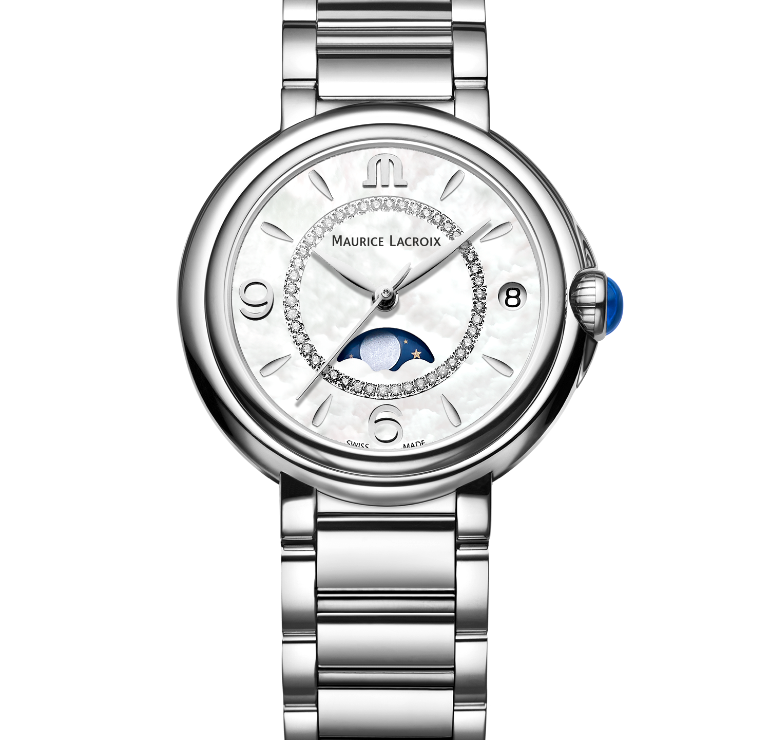 Fiaba Moonphase with white mother of pearl dial