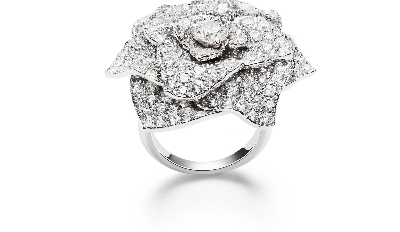 Rose 18K白金钻石戒指