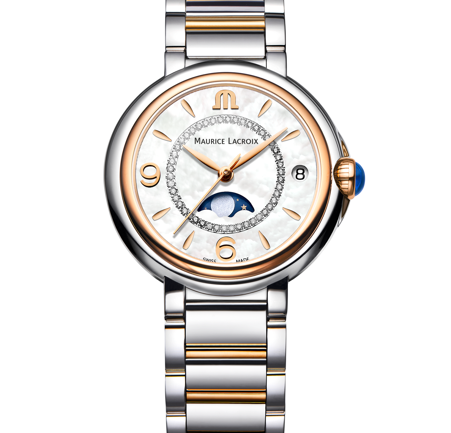 Fiaba Moonphase with white mother of pearl dial paired with bi-coloured detail