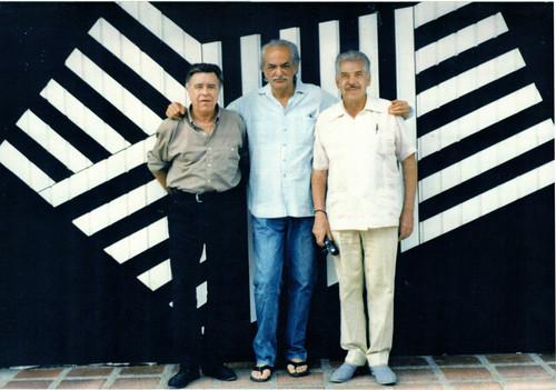Manuel Felguérez, Omar Rayo y Humberto Márquez en Roldanillo Colombia. 1996.