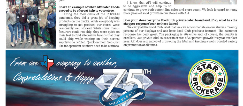 Congratulations Affiliated Foods on your 75th Anniversary!
