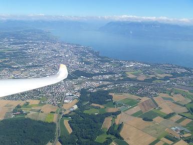 Vue Plateau depuis planeur: Lausanne