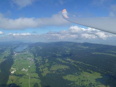 Vue Vallée de Joux depuis planeur: Le Brassus