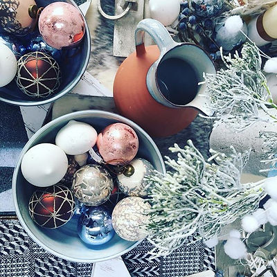 Icey Winter tones mixed with warm copper creates a beautiful contemporary Christmas theme for the ho