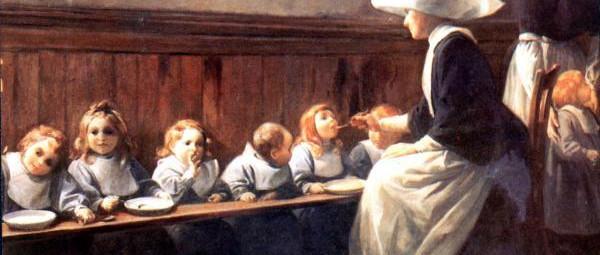 Filles de la Charité de Saint-Vincent-de-Paul accueillant les orphelines  Filles de la Charité de Saint-Vincent-de-Paul, ontvangst van de weeskinderen