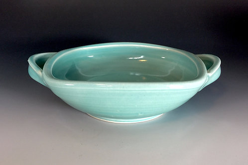 Turquoise Serving Bowl with Handles