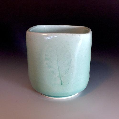 Celedon Leaf Design Porcelain Teabowl