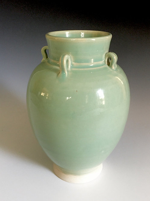 Celedon Vase with Handles