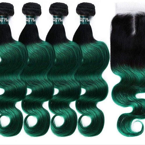 """Body Wave 24""""- Natural Colour 1B with Customised Green"""
