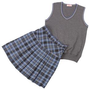 Комплект школьной формы для девочки серый с голубым