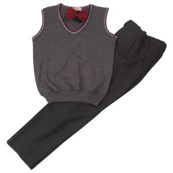 Комплект школьной формы серого цвтеа для мальчика (трикотажный жилет, брюки и бабочка)