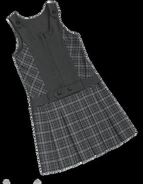 Сарафан школьный серый комбинированный с клеткой (низ изделия в клетку)