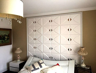 "3D Soundproof 16x16"" White  Lightweight Walls/Ceilings Leather Panels With Dark"