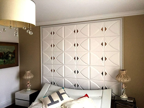 """3D Soundproof 16x16"""" White Lightweight Wall/Ceiling Leather Panels With Dark"""