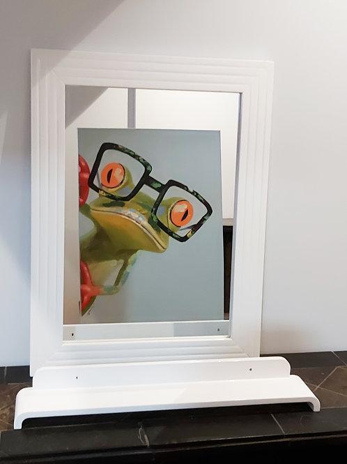 "Modern Mirror In White Glossy Frame 23.5x31 With Shelf 28x4.5"""