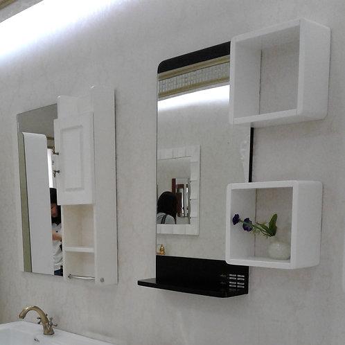 """Stylish Frameless Mirror 17x32""""With Black Accent & Black Shelf 17x5"""""""