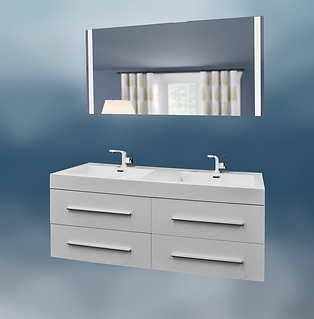 "Contemporary 51x19"" Double White Glossy Vanity With  51""LED Mirror"
