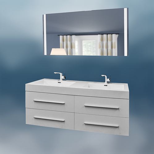 """Contemporary 51x19"""" Double White Glossy Vanity With  51""""LED Mirror"""