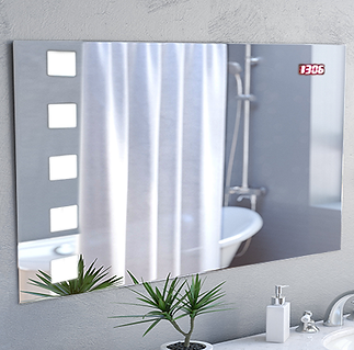"2in 1! Contemporary Accent LED MIrror 31.6""x19.6"" With Cloсk"