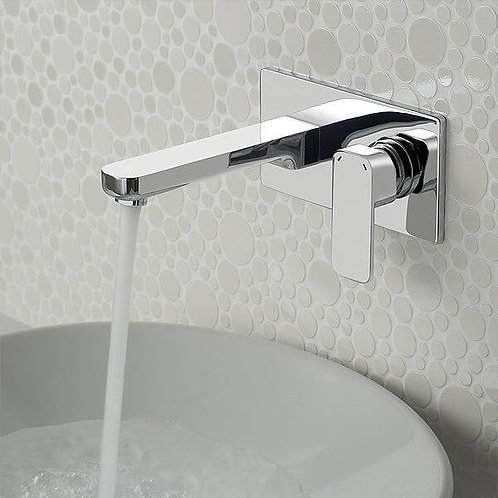 Elegant Modern Wall Mount  Faucet in Polished Chrome.