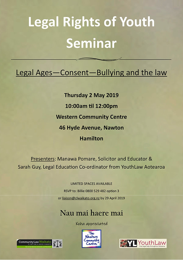 Flyer for Youthlaw Training Hamilton 2 M