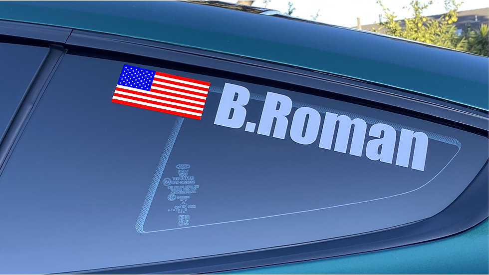 Driver name with flag decals
