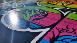 Layers of colored vinyl