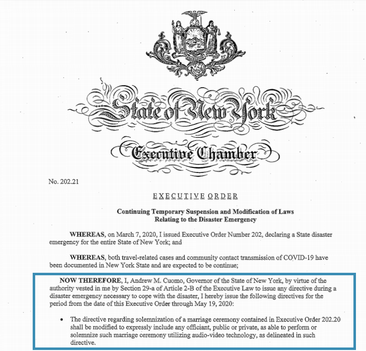 Screen shot of New York City's Executive Order 202.21 stating that officiants registered in the city of New York can solemnize wedding ceremonies virtually, including the bilingual officiants at Once Upon A Vow