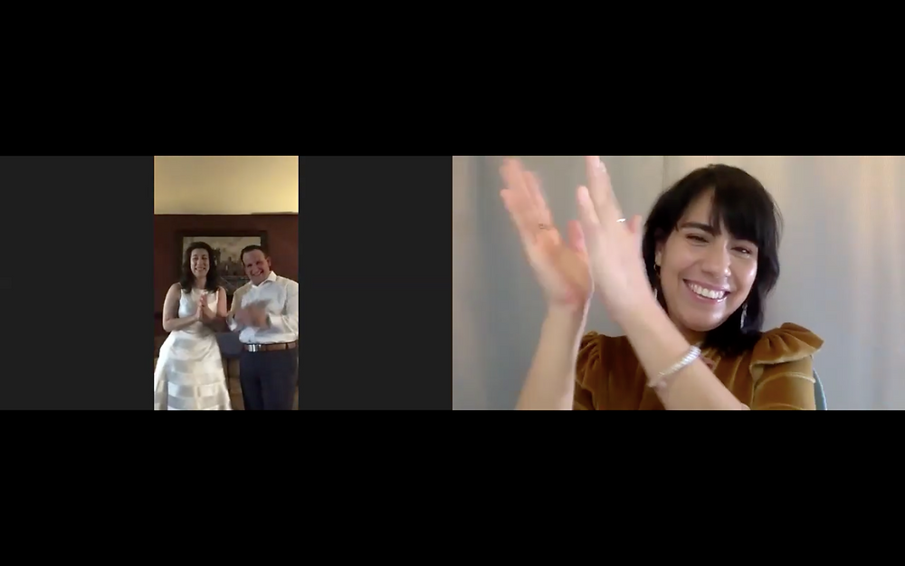 Screen shot photo of a zoom wedding virtual ceremony officiated by new york officiant from Once Upon A Vow applauding on the right side of the screen as the couple on the left side of the screen is applauding