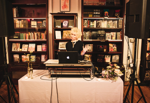 DJ at HousingWorks setting up before the ceremony officiated by Once Upon A Vow.