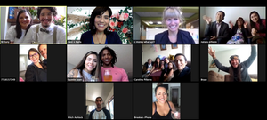 Screenshot photo of a virtual zoom wedding ceremony officiated by bilingual officiant from Once Upon A Vow with guests joining nationally and internationally