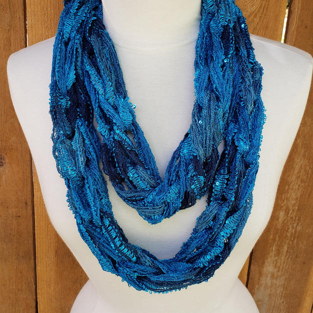 Arm Knit Sequin Infinity Scarf - $15