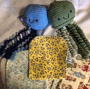 Burp Cloths $2 each; Octopus Mobiles - $10 each