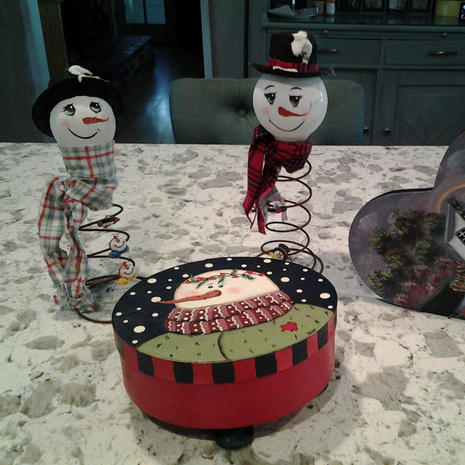 Snowmen and Decorated Boxes - $12.00 each